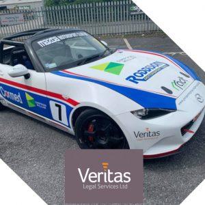 Veritas Legal Sponsor Sam Hicks in the BRSCC Mazda MX-5 Championship